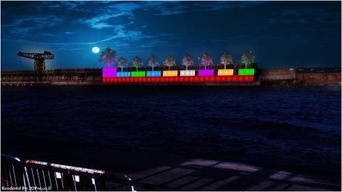 נמל תל אביב חנוכית ענק
